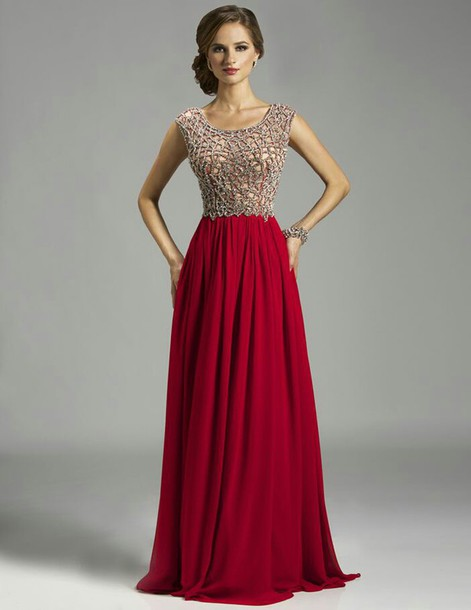dress crystal beaded long prom dress