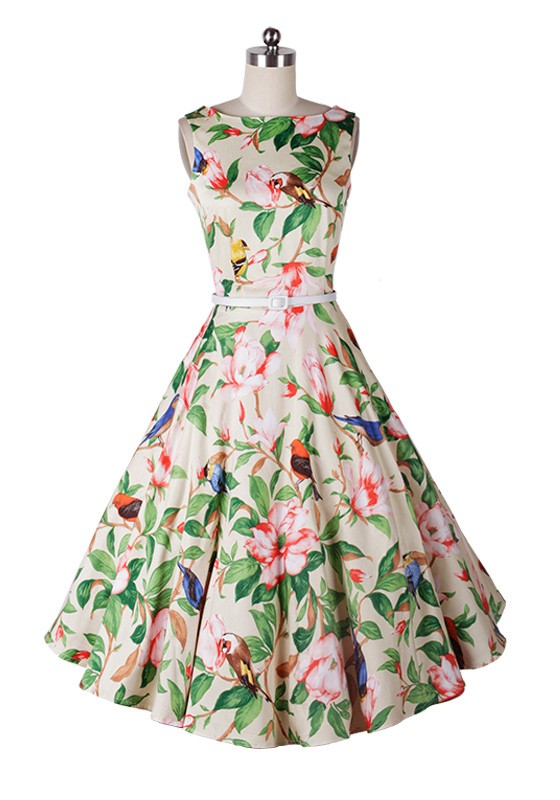 Long Floral Sleeveless Empires Waistline Dress | ReoRia