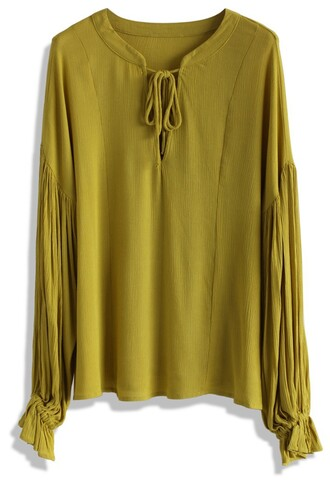 top relax tie-neck crepe top in mustard chicwish crepe mustard