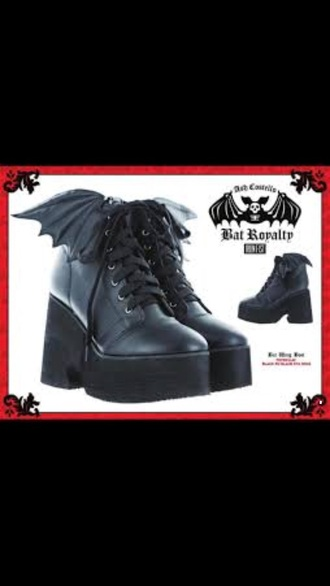 shoes ash costello black bat heel style metal rock