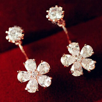 jewels earrings rhinestone shiny floral
