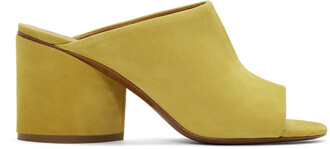 mules suede yellow shoes