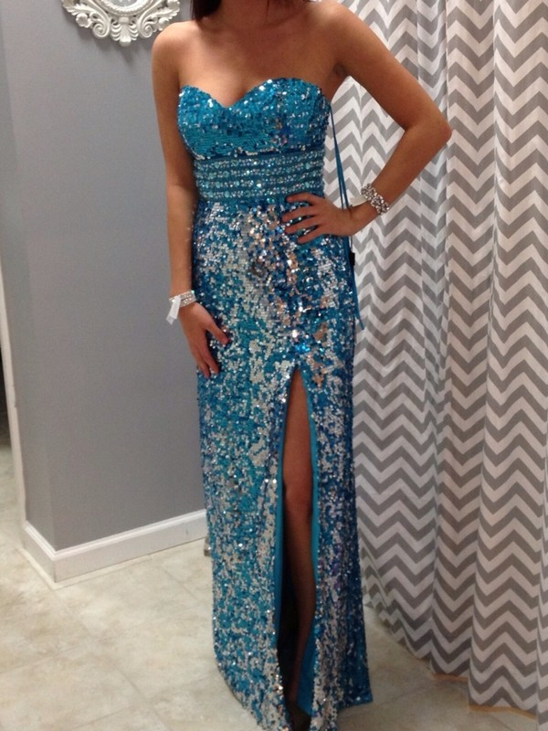 dress long glitter blue