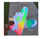 shoes,neon,hararche,trainers,nike,colorful huarache,nike air huaraches,huarache,colorful,nike shoes,tumblr clothes,on point clothing,clothes,rainbow,nike sneakers,rainbow nike hurraches