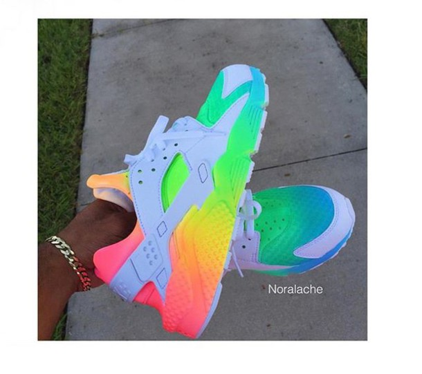 shoes, neon, hararche, trainers, nike, colorful huarache ...