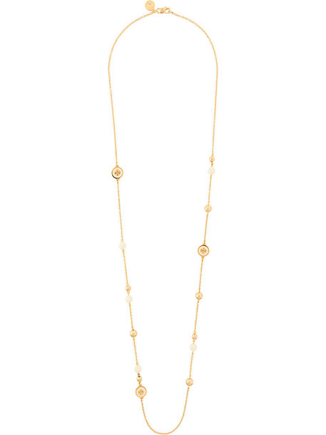 Tory Burch women beaded necklace grey metallic jewels