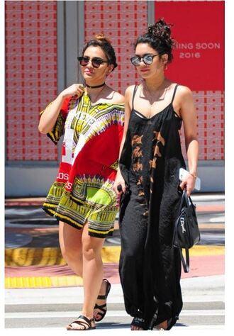 maxi dress vanessa hudgens sunglasses summer dress black dress jewels jewelry choker necklace necklace celebrity style boho boho chic