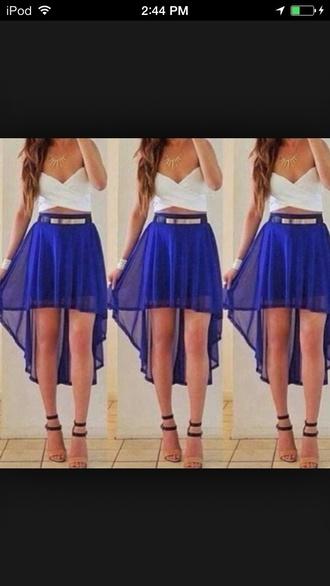 skirt blue skirt high waisted high low shorts shirt