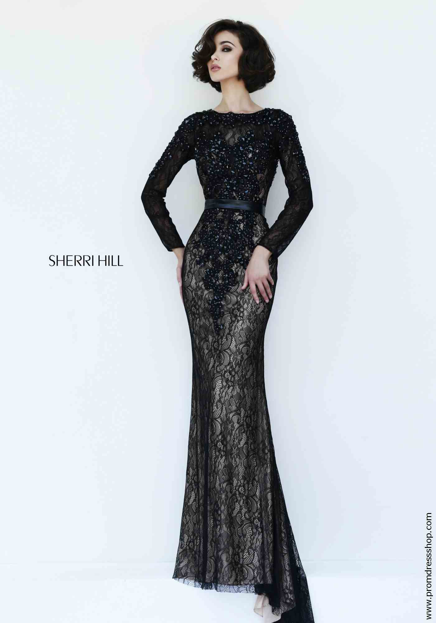 sway, sherri hill, prom dress, evening dress, long sleeves, gown ...