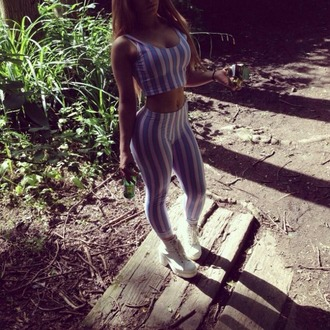 jumpsuit clothes stripes jumper playsuit two-piece pinstripes blue pink white pastel baddies