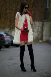 from brussels with love,blogger,gloves,red dress,mini dress,thigh high boots