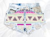 shorts,high waisted denim shortsd,enim shortsa,tribal pattern,aztec,pattern,cute,summer outfits,summer,outfit,studded,studs,swag,High waisted shorts