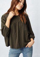 shirt,slub knit tee,slub knit,flounce tee,three-quarter sleeves,basic tee,boho tee,bohemeian,boho