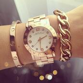jewels,watch,gold,marc jacobs,bracelets,gold bracelet,stacked bracelets,gold watch,marc jacobs watch,marc by marc jacobs,rose gold,genuine,replica,jewelry,gold jewelry,arm candy,designer inspired