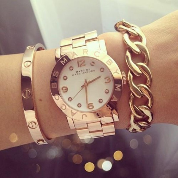 jewels watch gold marc jacobs bracelets gold bracelet stacked bracelets gold watch marc jacobs watch marc by marc jacobs rose gold genuine replica jewelry gold jewelry arm candy designer inspired