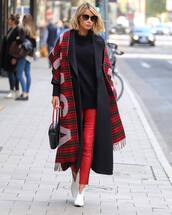 scarf,knitted scarf,checkered,wool,balenciaga,skinny pants,shoes,black sweater,sunglasses,handbag,coat