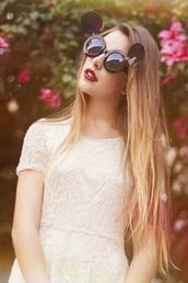 sunglasses,mickey sunglasses,mikcey,black,white lace dress,white,dress,black sunglasses