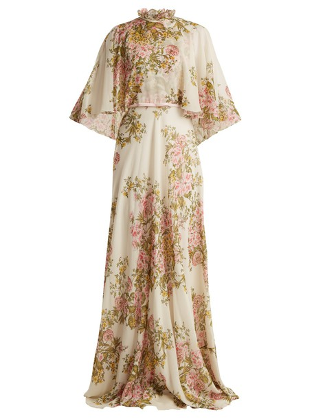 GIAMBATTISTA VALLI gown rose high print silk white dress