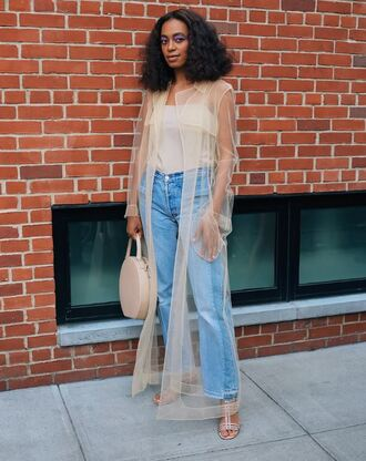 jeans top solange knowles sandals ny fashion week 2016 streetstyle coat cover up see through purse