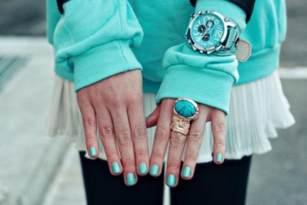 jewels nails watch sweater nail polish