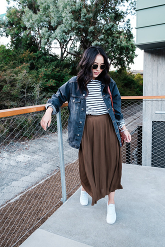 the fancy pants report blogger skirt t-shirt jacket shoes bag sunglasses sneakers midi skirt denim jacket striped top fall outfits