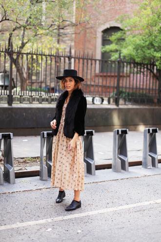 trop rouge blogger jacket bag dress hat oxfords