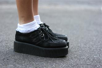 shoes creepers black kawaii lolita grunge platform shoes it girl shop lookbook pastel goth goth shoes pale