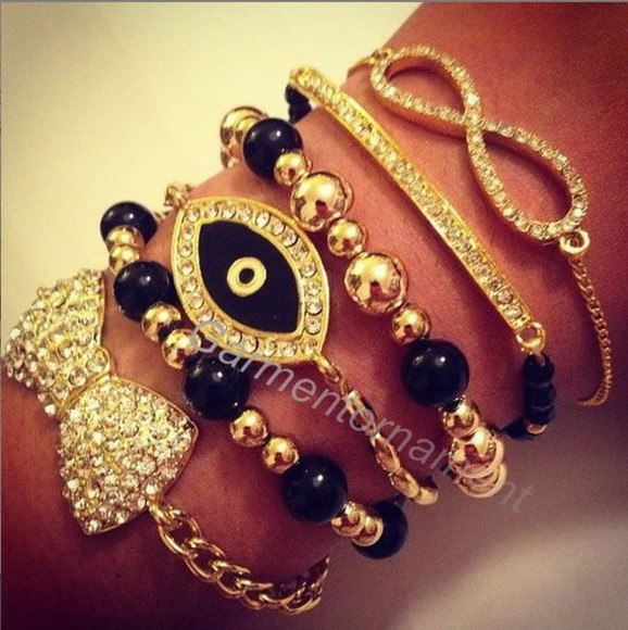 jewels gold crystal black silver bows bracelets bracelet set eye infinity