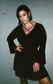 dress,black dress,long sleeve dress,ashley graham,curvy,plus size,plus size dress,instagram,model