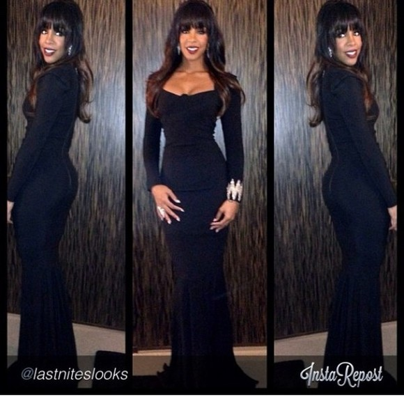 dress fitted dress kellyrowland long sleeve dress floor length elegant ,