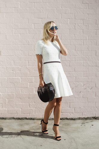 dress tumblr white dress mini dress short sleeve dress bag black bag sandals sandal heels high heel sandals sunlasses shoes