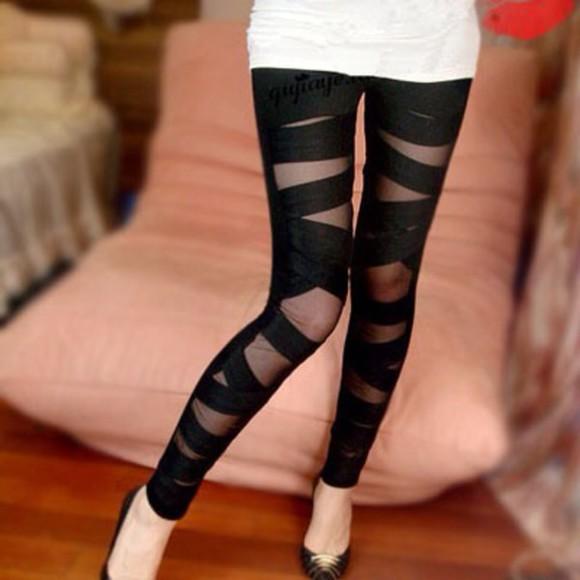 leggings découpes. noir