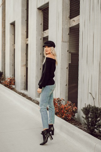 love lenore blogger sweater jeans hat jewels shoes off the shoulder sweater black sweater ankle boots cap winter outfits fall outfits