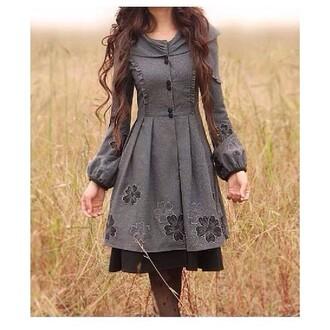 dress hippie hipster punk vintage grey black old fashion victorian dress floral button up blouse