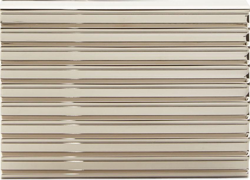 Silver corrugated stack clutch