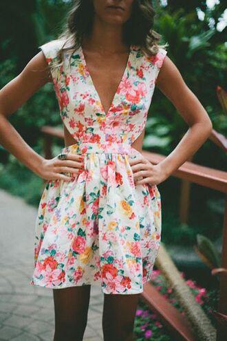 dress clothes summer dress floral laid back cut-out dress vneck dress cute beautiful floral dress mini dress closer print geometric