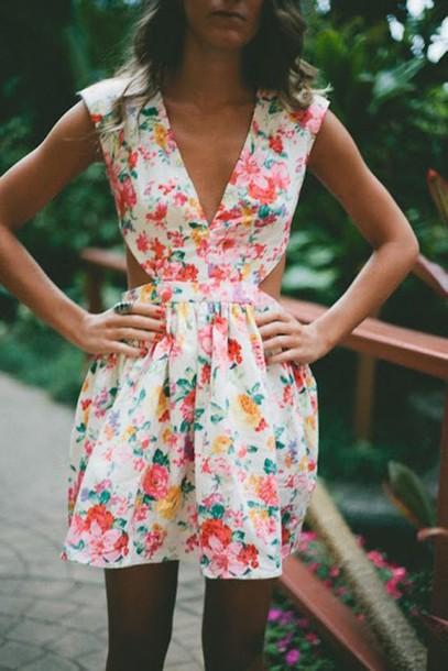 dress clothes summer dress floral laid back cut-out dress vneck dress cute beautiful floral dress cut-out dress mini dress closer print geometric