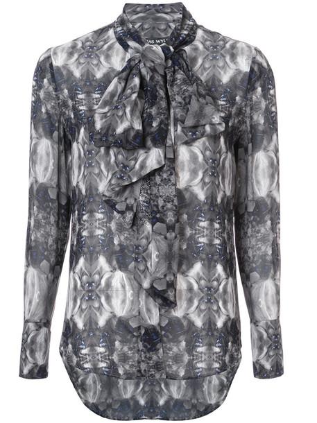 Thomas Wylde blouse women silk grey top
