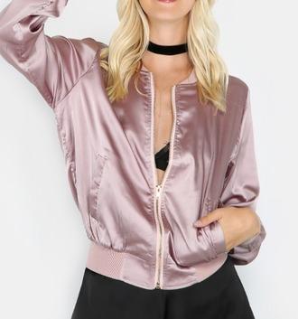 jacket girl girly girly wishlist pink muave pink bomber jacket muave pink mauve pink bomber jacket bomber jacket satin satin bomber