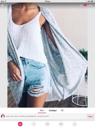 top swimwear knitwear ring high waisted shorts jewels knitted crop top necklace gold necklace ribbed top cardigan shorts denim shorts ripped jeans tank top
