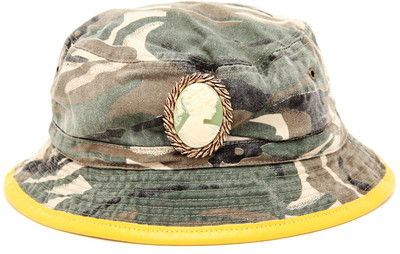 Silver spoon attire embellished camouflage bucket hat