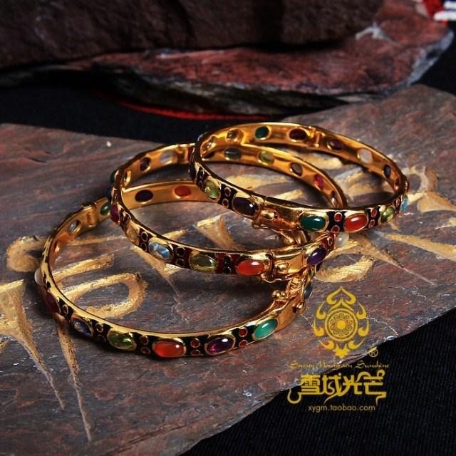 925 Sterling Silver Gilding Coloured Enamels Gemstone Bracelet - Wishbop.com