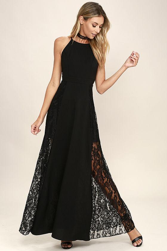 Dark of Night Black Lace Maxi Dress