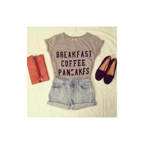 shirt breakfast coffee pancakes breakfast coffee pancakes shirt t-shirt shorts shoes top sleep more eat grey writing t-shirt blouse sleeves breakfast coffee pancakes coffee t-shirt girly mornings hair accessory skirt