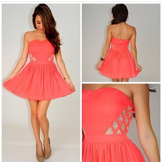 dress lace pink dress coral dress strapless dress summer dress short dress
