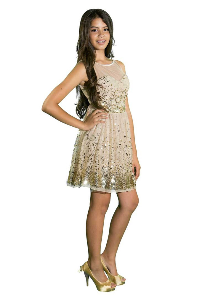 Shimmer Gold Dream Party Dress | Affordable Junior Clothing & Plus Sized Dresses | Shimmer