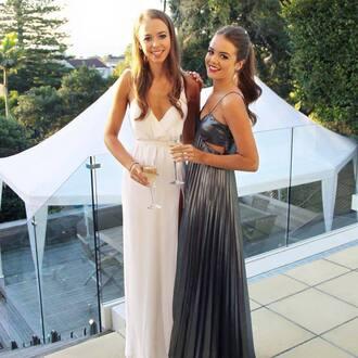 dress gathered at waist white dress high split evening dress