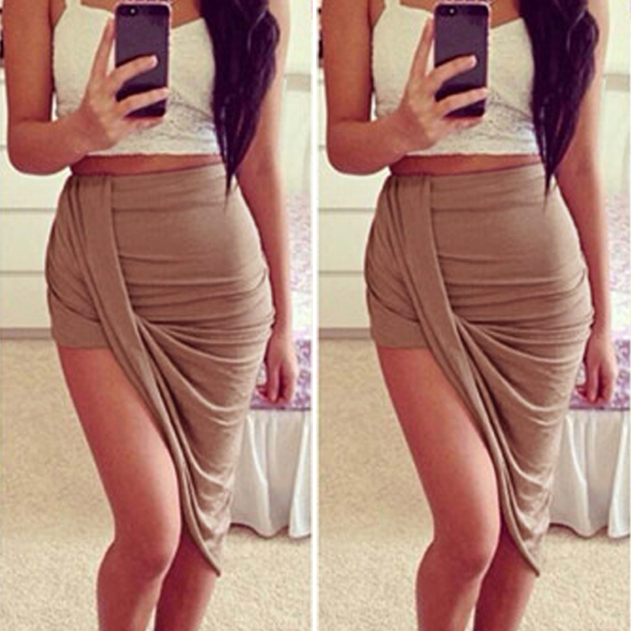 Draped Asymmetrical High Waisted Stretch Bodycon Low Mini Maxi ...