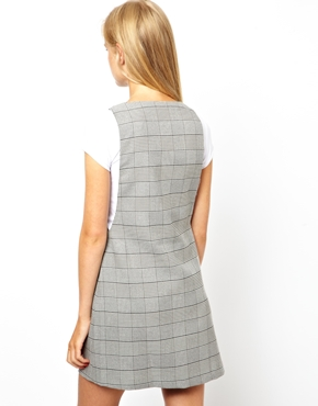 ASOS | ASOS Shift Dress In Check With Zip Front at ASOS