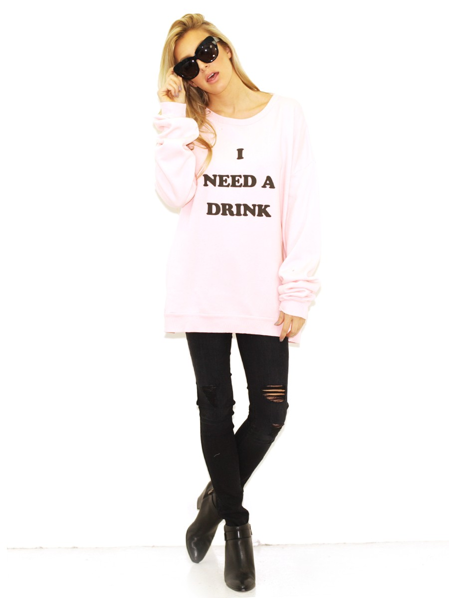 Wildfox I Need A Drink Barefoot Sweater in Rose Bud